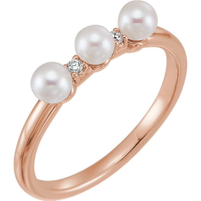 Easy Gift in 14 Karat Rose Gold Freshwater Cultured Pearl & .03 Carat Total Weight Diamond Stackable Ring