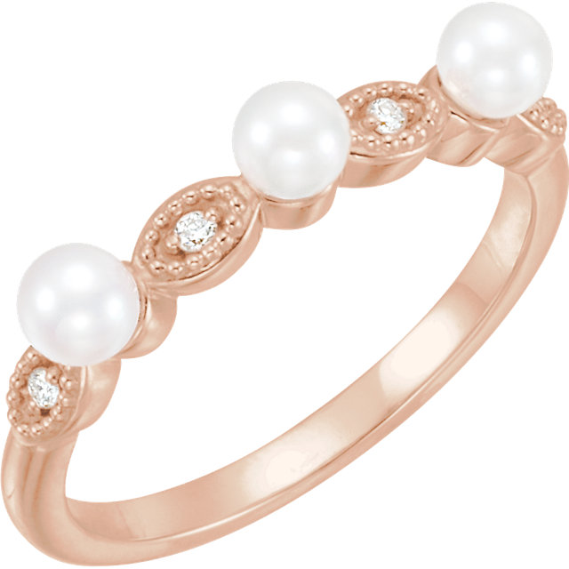 Great Deal in 14 Karat Rose Gold Freshwater Cultured Pearl & .03 Carat Total Weight  Diamond Stackable Ring