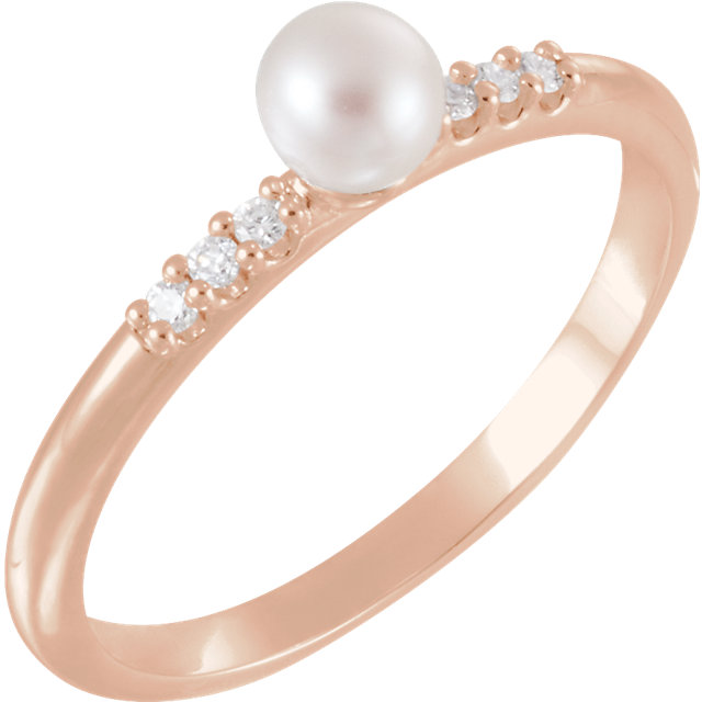 Genuine  14 KT Rose Gold Freshwater Cultured Pearl & .05 Carat TW Diamond Ring