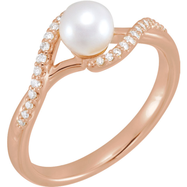 Shop Real 14 KT Rose Gold Freshwater Cultured Pearl & 0.10 Carat TW Diamond Ring