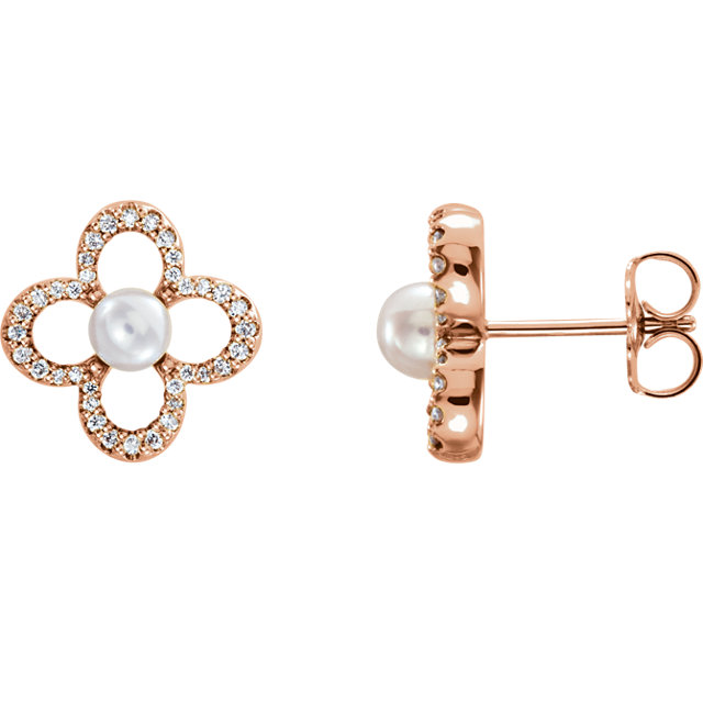 Gorgeous 14 Karat Rose Gold Freshwater Cultured Pearl & 0.25 Carat Total Weight Diamond Earrings