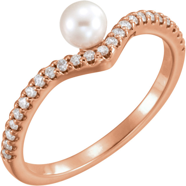 Low Price on 14 KT Rose Gold Freshwater Cultured Pearl & 0.20 Carat TW Diamond Asymmetrical Ring