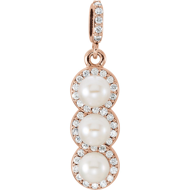 Shop Real 14 KT Rose Gold Freshwater Cultured Pearl & 0.20 Carat TW Diamond Pendant