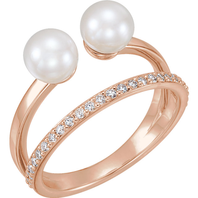 14 KT Rose Gold Freshwater Cultured Pearl & 0.20 Carat TW Diamond Ring