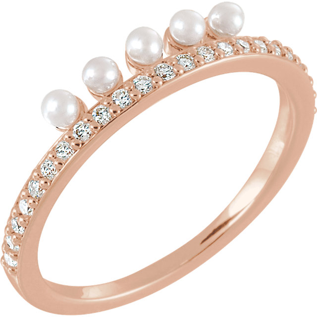 Fine 14 KT Rose Gold Freshwater Cultured Pearl & 0.20 Carat TW Diamond Stackable Ring