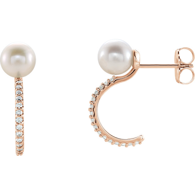 Beautiful 14 Karat Rose Gold Freshwater Cultured Pearl & 0.17 Carat Total Weight Diamond J-Hoop Earrings