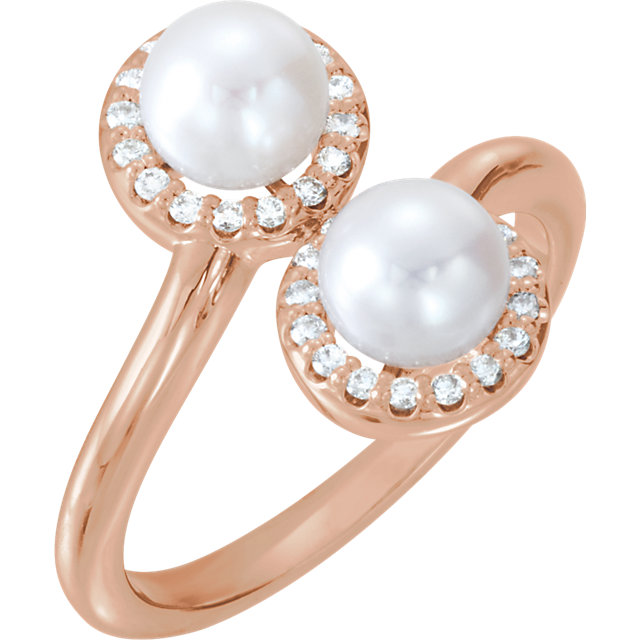 Must See 14 KT Rose Gold Freshwater Cultured Pearl & 0.17 Carat TW Diamond Ring