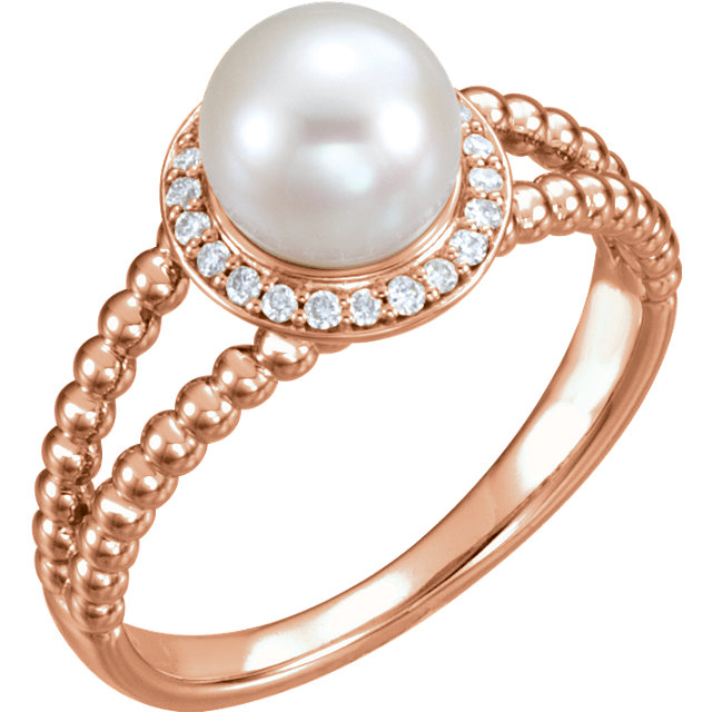 Contemporary 14 Karat Rose Gold Freshwater Cultured Pearl & 0.12 Carat Total Weight Diamond Ring