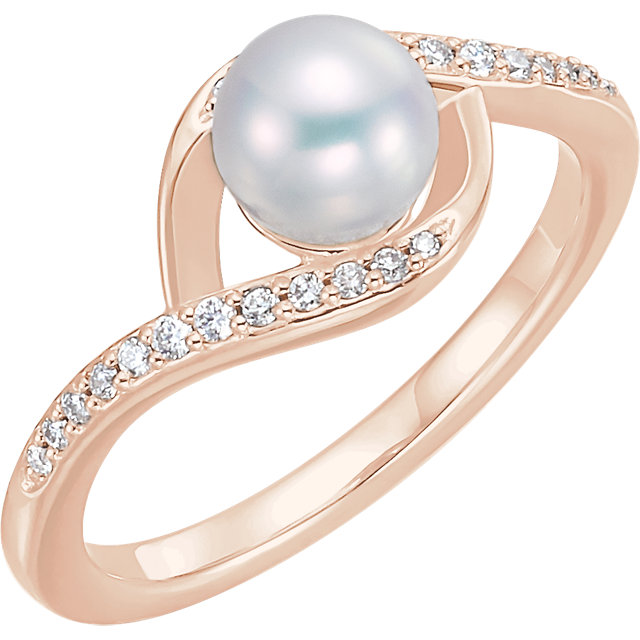 14 KT Rose Gold Freshwater Cultured Pearl & 0.12 Carat TW Diamond Ring