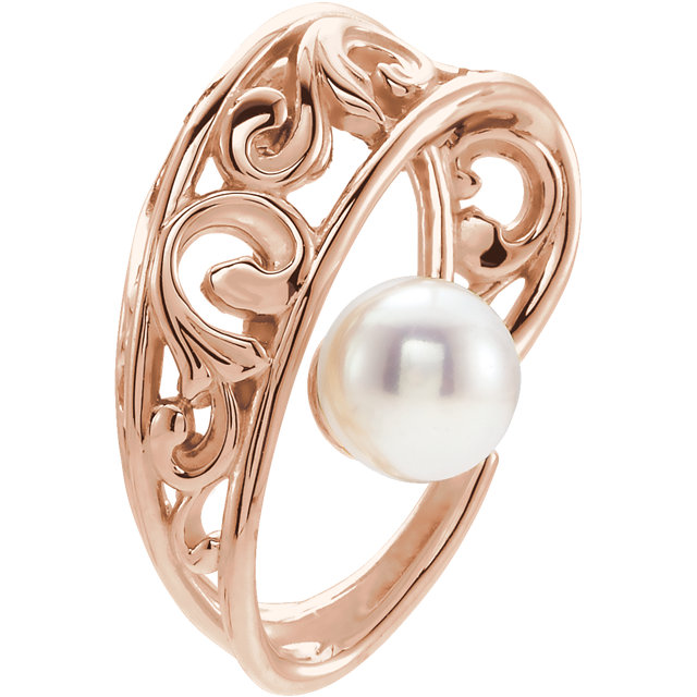 Perfect Gift Idea in 14 Karat Rose Gold Freshwater Cultured Pearl Pendant