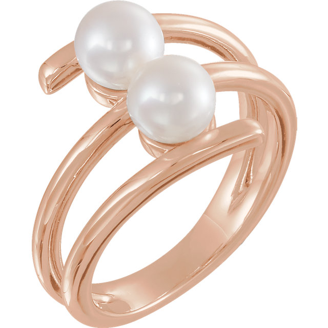 Jewelry Find 14 KT Rose Gold Freshwater Cultured Pearl Ring