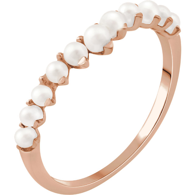 14 KT Rose Gold Freshwater Cultured Pearl Ring