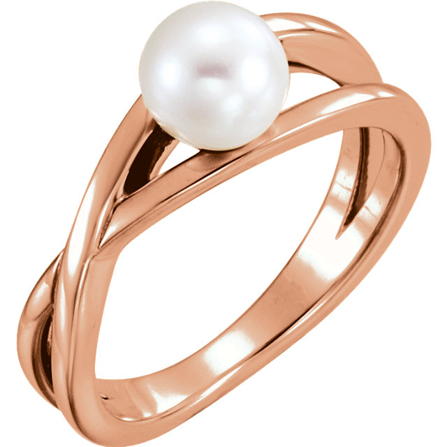 Fine 14 KT Rose Gold Genuine Freshwater Cultured Pearl Solitaire Ring