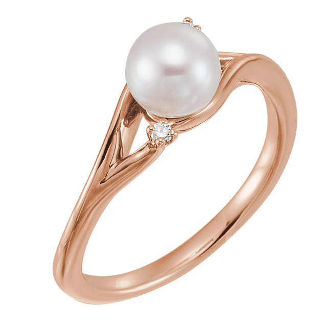 Genuine  14 KT Rose Gold Freshwater Pearl & .03 Carat TW Diamond Bypass Ring