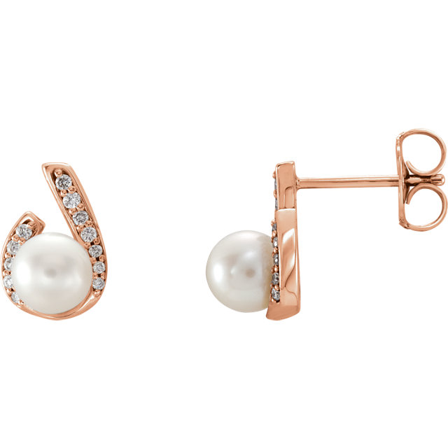 Beautiful 14 Karat Rose Gold  Freshwater Pearl & 0.10 Carat Total Weight Diamond Earrings