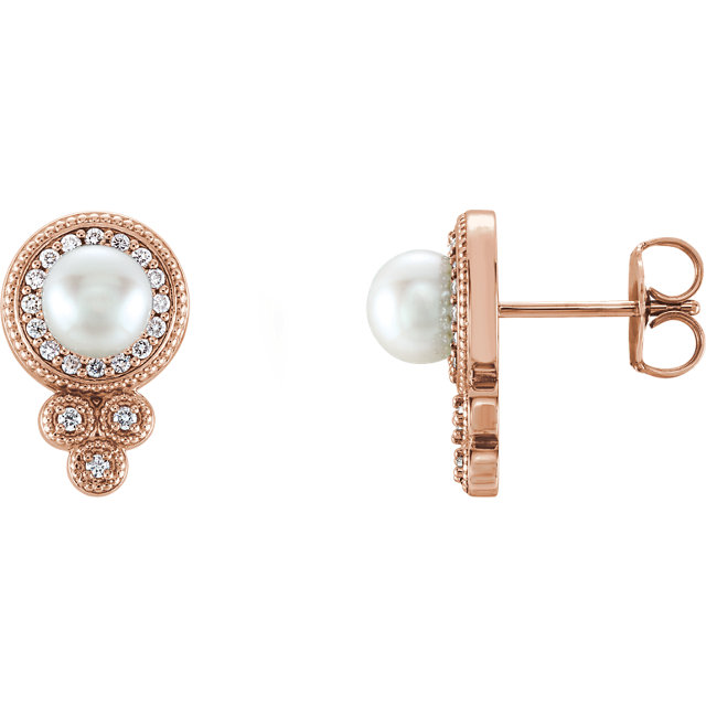 Beautiful 14 Karat Rose Gold Freshwater Pearl & 0.20 Carat Total Weight Diamond Earrings