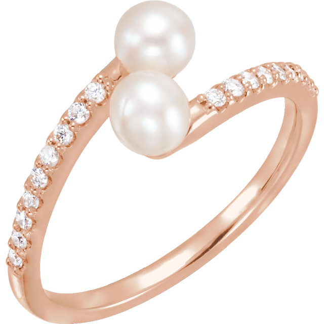 Eye Catchy 14 Karat Rose Gold Freshwater Cultured Pearl & 0.17 Carat Total Weight Diamond Bypass Ring