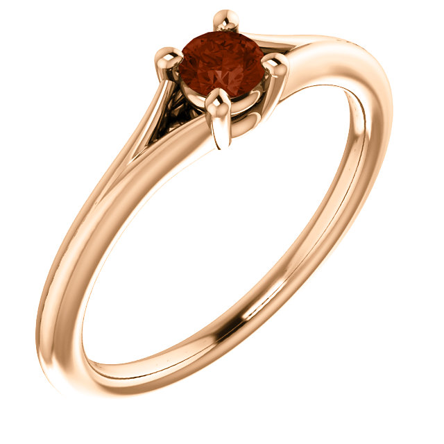 Gorgeous 14 Karat Rose Gold Garnet Youth Ring