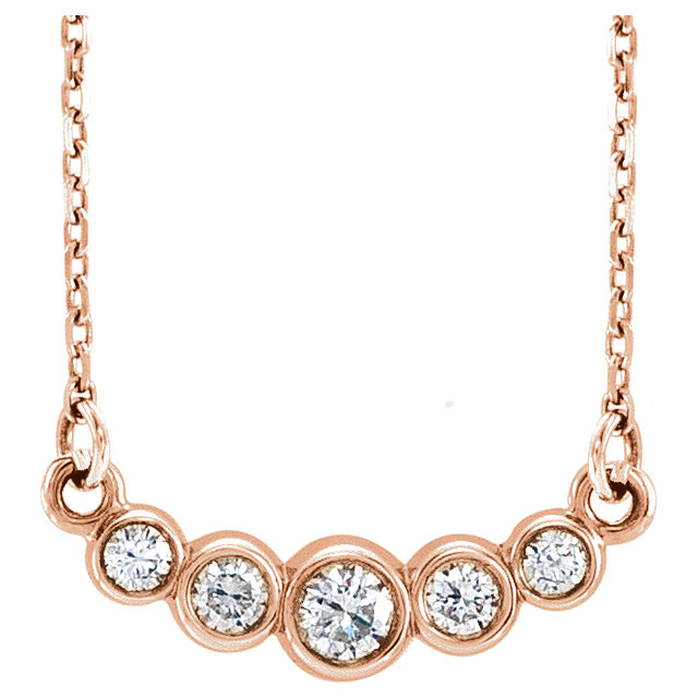 Stunning 14 Karat Rose Gold Graduated Bezel-Set 0.20 Carat Total Weight Diamond 16-18