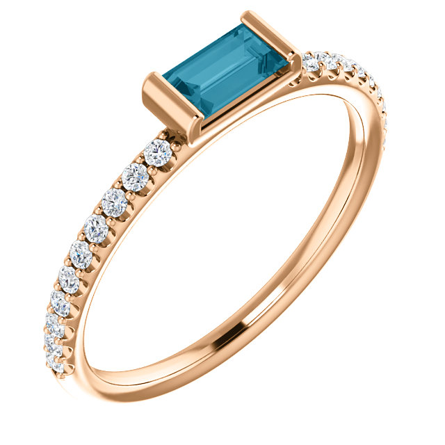 Beautiful 14 Karat Rose Gold Straight Baguette Genuine London Blue Topaz & 1/6 Carat Total Weight Diamond Stackable Ring