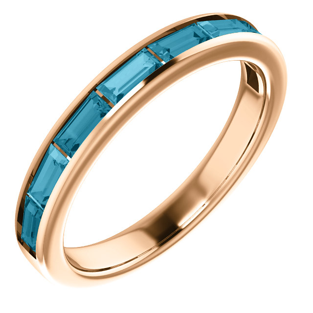Lovely 14 Karat Rose Gold Straight Baguette Genuine London Blue Topaz Ring