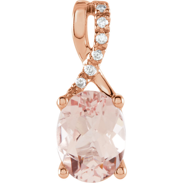Very Nice 14 Karat Rose Gold Morganite & .03 Carat Total Weight Diamond Pendant