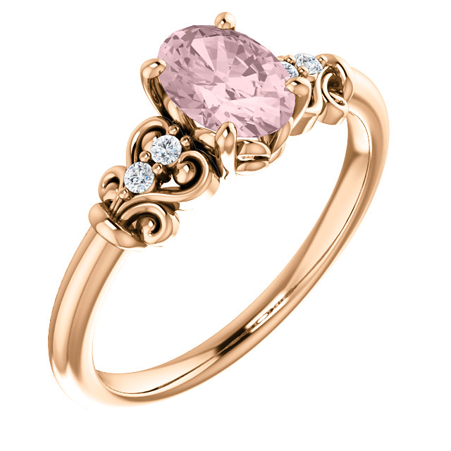 Quality 14 KT Rose Gold Morganite & .04 Carat TW Diamond Ring
