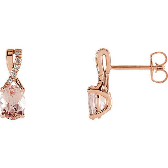 Great Gift in 14 Karat Rose Gold Morganite & .05 Carat Total Weight Diamond Earrings