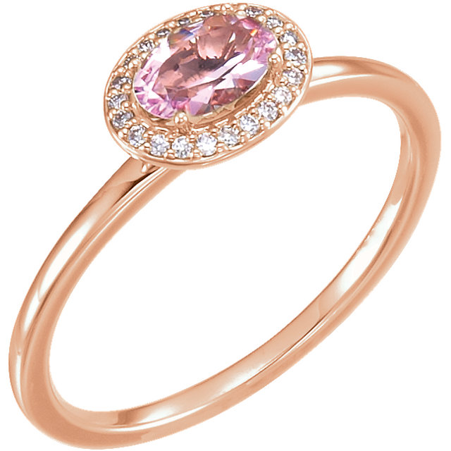 Perfect Gift Idea in 14 Karat Rose Gold Morganite & .07 Carat Total Weight Diamond Ring
