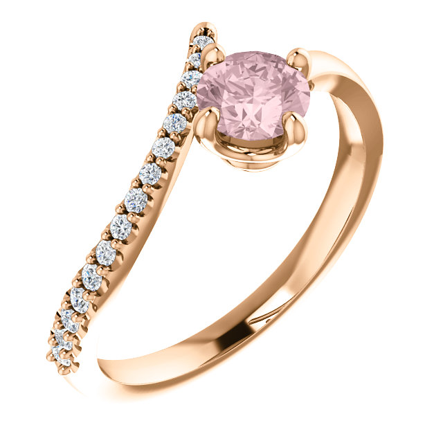 Contemporary 14 Karat Rose Gold Morganite & 0.10 Carat Total Weight Diamond Bypass Ring