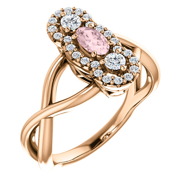 Easy Gift in 14 Karat Rose Gold Morganite & 0.25 Carat Total Weight Diamond Ring
