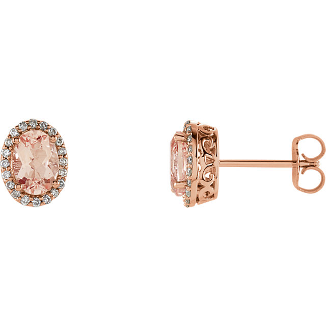 Great Gift in 14 Karat Rose Gold Morganite & 0.20 Carat Total Weight Diamond Earrings