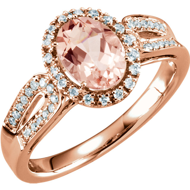 Genuine 14 Karat Rose Gold Morganite & 0.20 Carat Diamond Ring