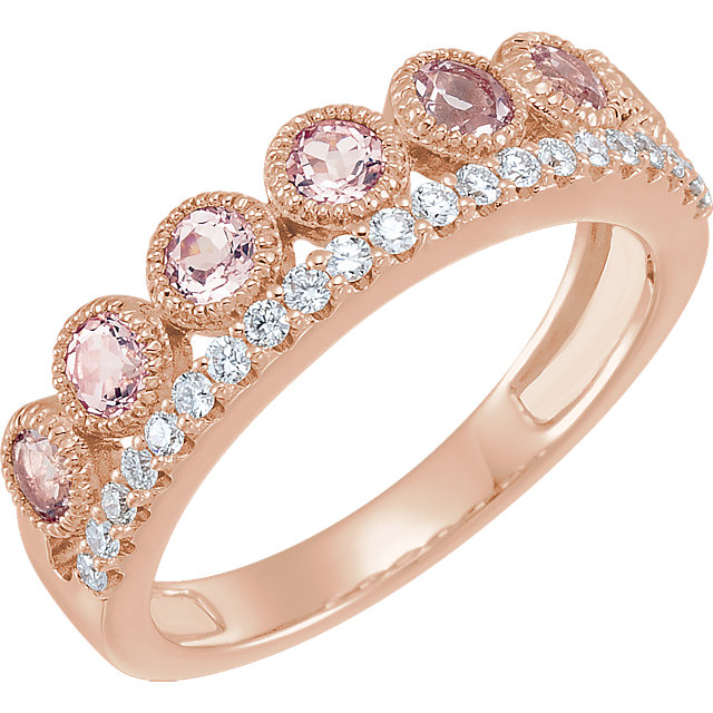 Buy Real 14 KT Rose Gold Morganite & 0.20 Carat TW Diamond Ring