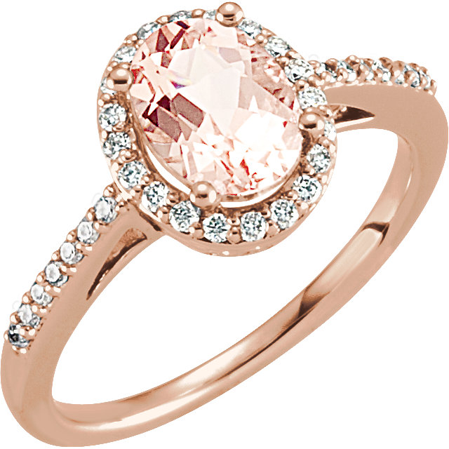 Fine Quality 14 Karat Rose Gold Morganite & 0.20 Carat Total Weight Diamond Ring