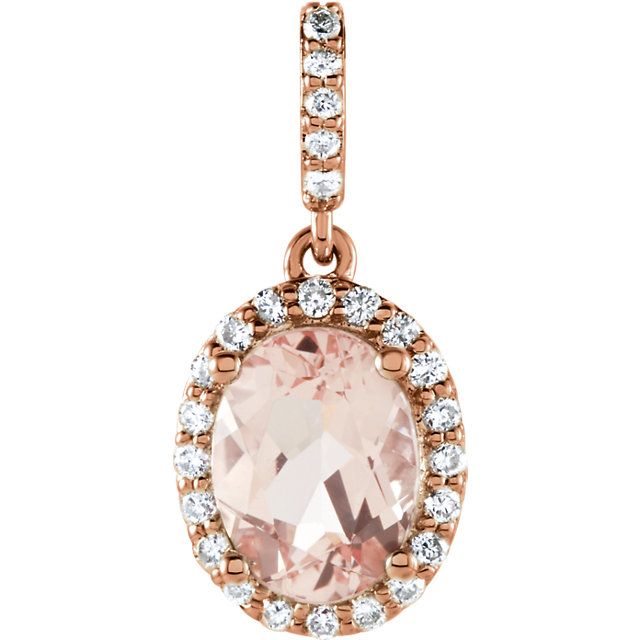 Eye Catchy 14 Karat Rose Gold Morganite & 0.17 Carat Total Weight Diamond Pendant