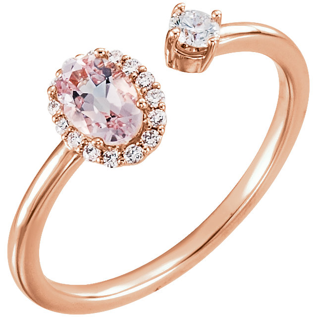 Fine 14 KT Rose Gold Morganite & 0.17 Carat TW Diamond Ring