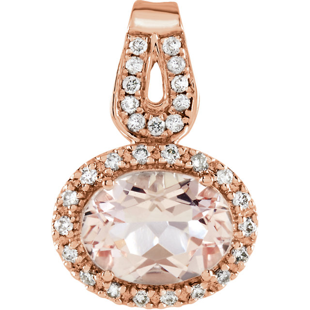 Jewelry Find 14 KT Rose Gold Morganite & 0.12 Carat TW Diamond Pendant