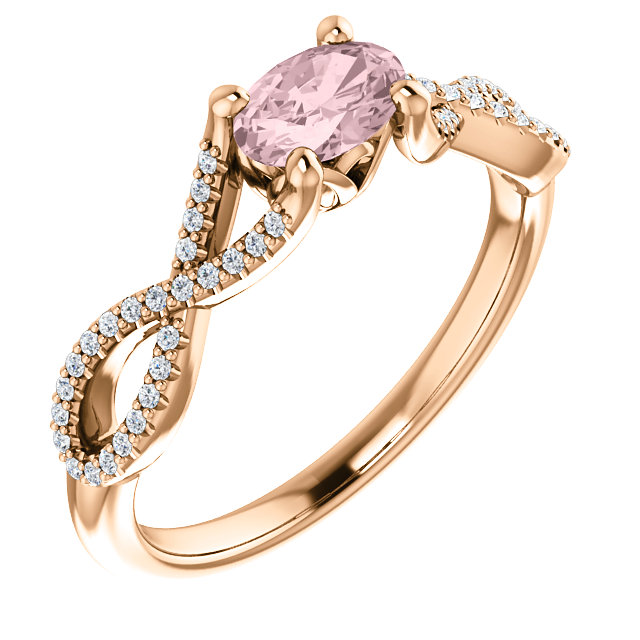 Genuine  14 KT Rose Gold Morganite & 0.12 Carat TW Diamond Ring