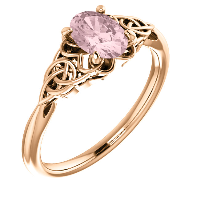 Jewelry in 14 KT Rose Gold Morganite Celtic-Inspired Ring