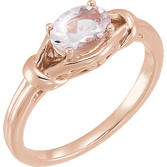 Genuine  14 KT Rose Gold Morganite Knot Ring
