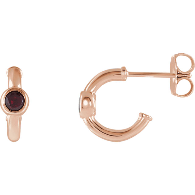 Wonderful 14 Karat Rose Gold Mozambique Garnet J-Hoop Earrings
