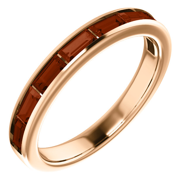 Easy Gift in 14 Karat Rose Gold Mozambique Garnet Ring