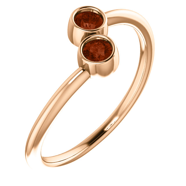 Great Buy in 14 Karat Rose Gold Mozambique Garnet Two-Stone Ring