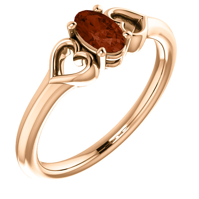 Jewelry Find 14 KT Rose Gold Mozambique Garnet Youth Heart Ring