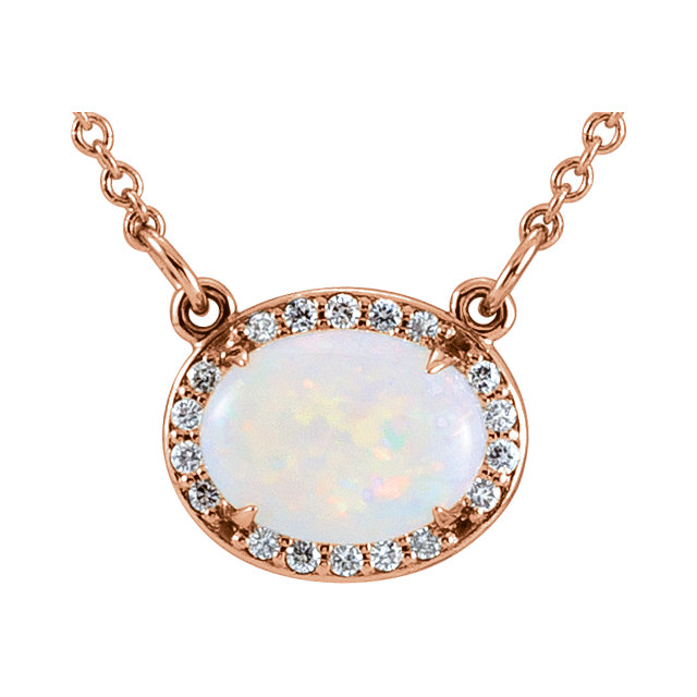 Perfect Gift Idea in 14 Karat Rose Gold Opal & .05 Carat Total Weight Diamond Halo-Style 16.5