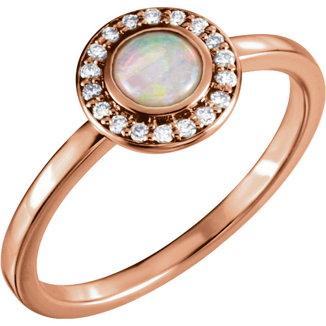 Easy Gift in 14 Karat Rose Gold Opal & .08 Carat Total Weight Diamond Ring