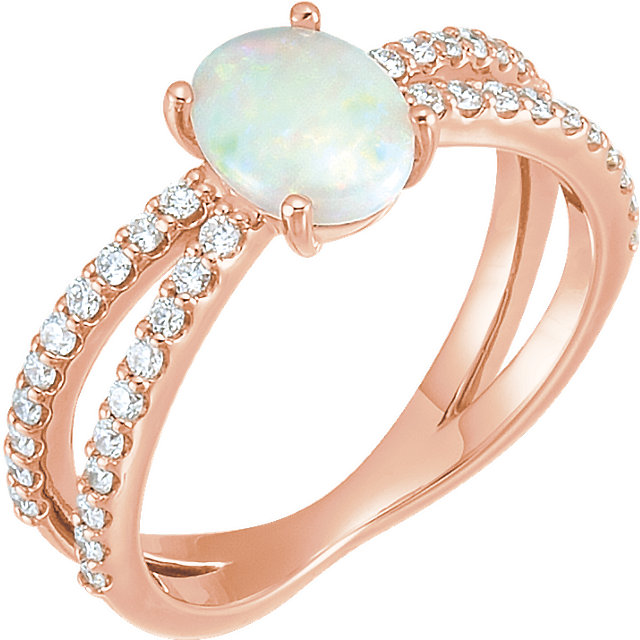 Must See 14 Karat Rose Gold Opal & 0.33 Carat Total Weight Diamond Ring