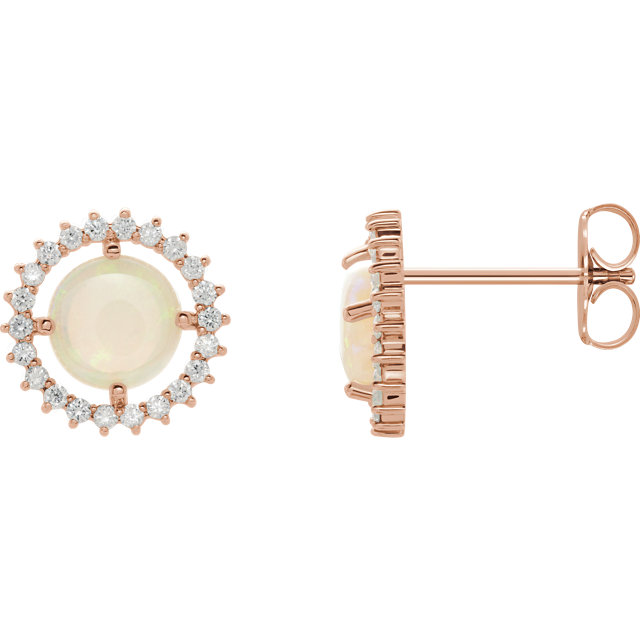 Surprise Her with  14 Karat Rose Gold Opal & 0.12 Carat Total Weight Diamond Earrings