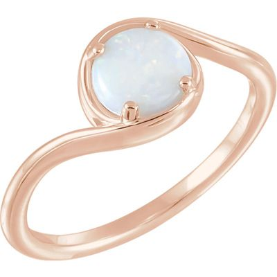 Nice 14 Karat Rose Gold Opal Bypass Ring